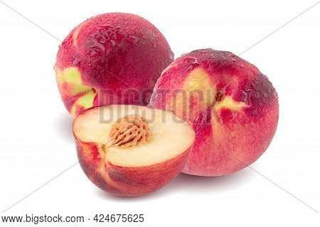Ripe Fresh Peaches Isolated Over White Background.