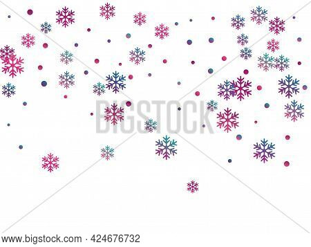 Winter Snowflakes And Circles Border Vector Graphics. Unusual Gradient Snow Flakes Isolated Banner B