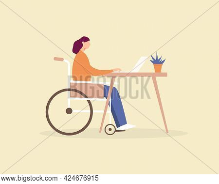 Disabled Young Woman In A Wheelchair Working At A Computer In Home Office. Disabled Person Employmen