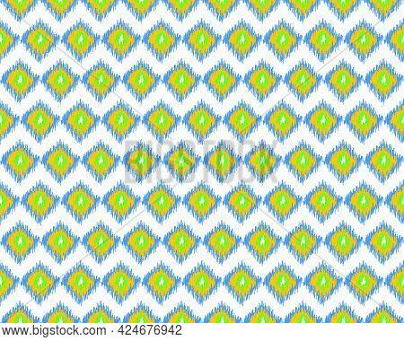 Beautiful Ethnic Ikat Seamless Pattern Elements Collection. Can Use Geometric Seamless Pattern Desig