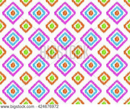 Beautiful Ikat Ethnic Seamless Pattern Elements Collection. Can Use Beautiful Seamless Pattern Ethni