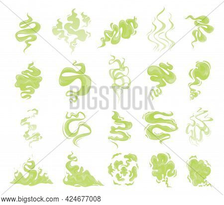 Collection Of Bed Green Clouds Of Unpleasant Smell Vector Illustration. Set Of Smoke And Toxic Steam