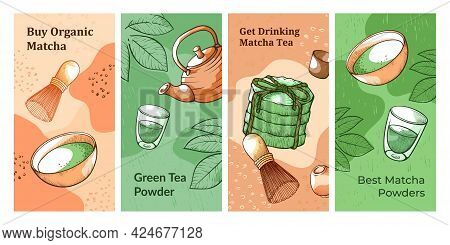 Collection Vertical Matcha Tea Banner Vector Illustration Stylish Template With Hot Organic Beverage