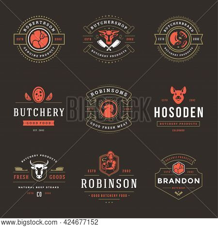 Butcher Shop Logos Set Vector Illustration Good For Farm Or Restaurant Badges With Animals And Meat