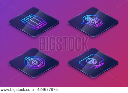 Set Isometric Line Wooden Barrel, Compass, Pirate Captain And Skull. Blue Square Button. Vector