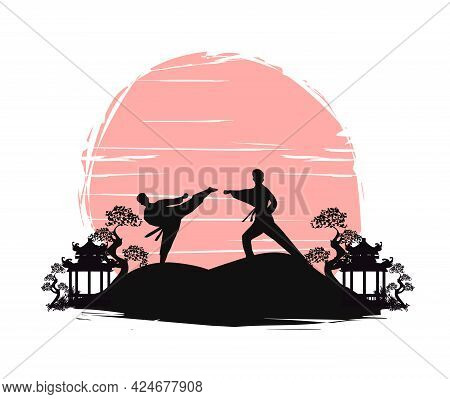 Active Tae Kwon Do Martial Arts Fighters Combat Fighting And Kicking Sport Silhouettes Illustration