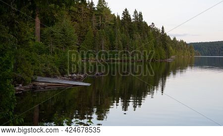 Beautiful And Wild Fishing Lake In The Province Of Quebec, Canada