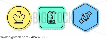 Set Line Necklace On Mannequin, Price Tag With Dollar And Wrist Watch. Colored Shapes. Vector