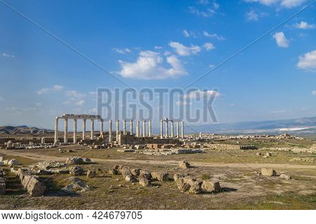 Panoramic View Onto Laodicea, Ancient City Near Denizli, Turkey. There Are Remains Of Buildings & Co