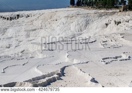Panorama Of Travertine Terraces Of Pamukkale, Turkey. Structures Created During Centuries By Constan