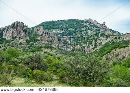 Panorama Of Mountains In Valley Of Ghosts, Near Alushta, Crimea. Place Popular Among Tourists For Hi