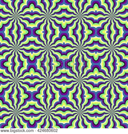 Colorful Optical Illusion Seamless Pattern. Moving Design In Moroccan Tiles Style.