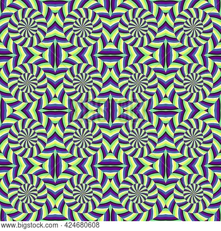 Colorful Optical Illusion Seamless Pattern. Moroccan Style Tileable Design Of Hypnotic Moving Shapes
