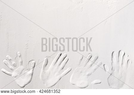 Handprint Printed On White Flour, Sand, Powder, Dough. Baking, Cooking Food Meal Background. Top Vie