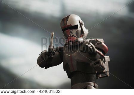 JUNE 23 2021: Disney Plus Star Wars The Bad Batch, Clone Force 99 commando sergeant Hunter with vibro knife - Hasbro action figure