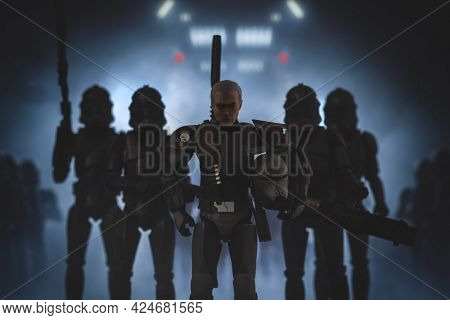 JUNE 23 2021: Disney Plus Star Wars The Bad Batch clone Crosshair with Elite Squad Troopers - Hasbro action figures