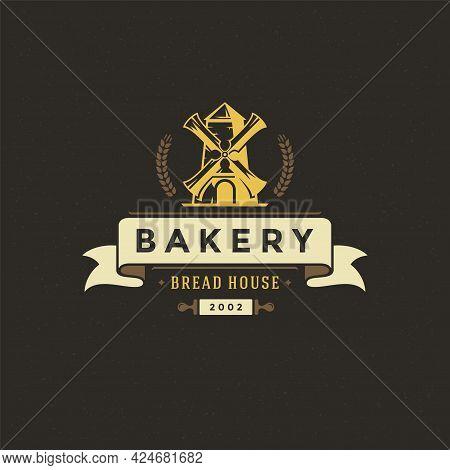 Bakery Badge Or Label Retro Vector Illustration. Mill Silhouette For Bakehouse.