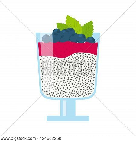 Chia Seeds Pudding With Berry Mousse And Mint Leaves. Isolated Vector Illustration