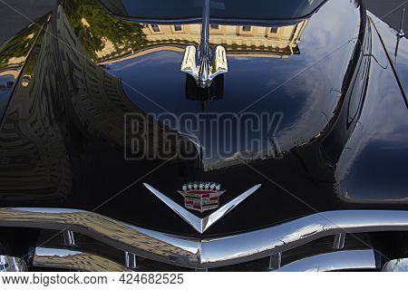 St. Petersburg, Russia - June 9, 2021:  Cadillac Coupe Deville 1950s, Black Executive Car, Old Class