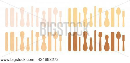 Popsicle Stick And Spoon For Ice Cream, Medical Tongue Depressor Set.