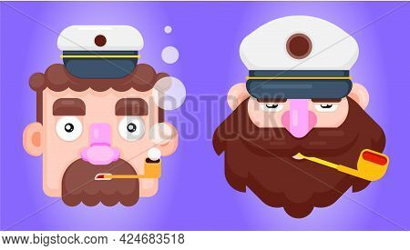 Set Of Two Bearded Ship Captain Or Skipper With A Pipe And Peaked Cap. Flat Design Smoking Sailor Ve