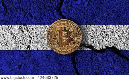 Bitcoin Crypto Currency Coin With Cracked El Salvador Flag. Crypto Restrictions