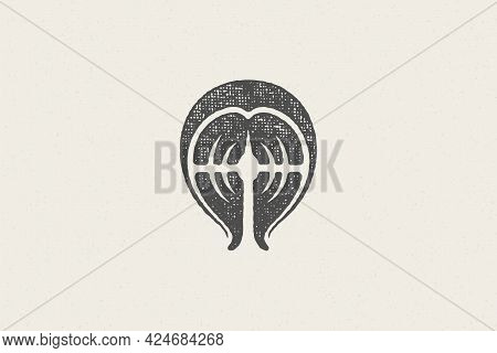 Fresh Salmon Fish Steak Silhouette For Seafood Market And Restaurant Logo Hand Drawn Stamp Effect Ve