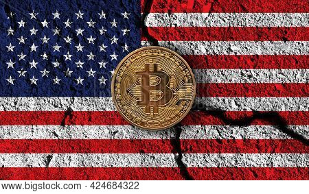 Bitcoin Crypto Currency Coin With Cracked Usa Flag. Crypto Restrictions