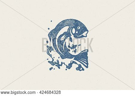 Fish Jumping Out From Water Silhouette For Fishing Club Or Seafood Market Hand Drawn Stamp Effect Ve
