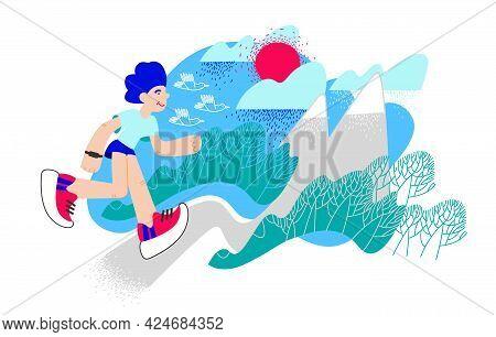 Trail Running, Marathon Runner. Extreme Sports. Athlete Running A Distance Outdoors. Vector Mountain