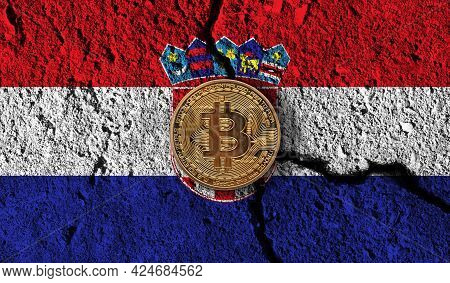 Bitcoin Crypto Currency Coin With Cracked Croatia Flag. Crypto Restrictions