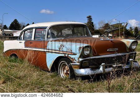 Lidgerwood, North Dakota, May 9, 2021: The Rust 4 Door Sedan Is A 1956 Chevy, A Classic Produced Fro
