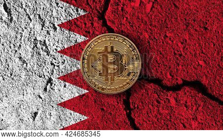 Bitcoin Crypto Currency Coin With Cracked Bahrain Flag. Crypto Restrictions