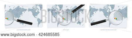 Blue Abstract World Maps With Magnifying Glass On Map Of Guinea With The National Flag Of Guinea. Th