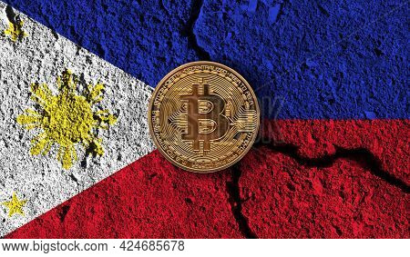 Bitcoin Crypto Currency Coin With Cracked Philippines Flag. Crypto Restrictions