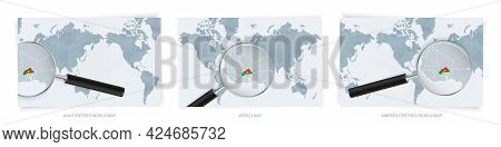 Blue Abstract World Maps With Magnifying Glass On Map Of Burkina Faso With The National Flag Of Burk