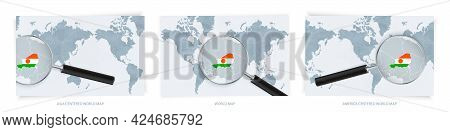 Blue Abstract World Maps With Magnifying Glass On Map Of Niger With The National Flag Of Niger. Thre