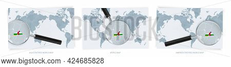 Blue Abstract World Maps With Magnifying Glass On Map Of Central African Republic With The National
