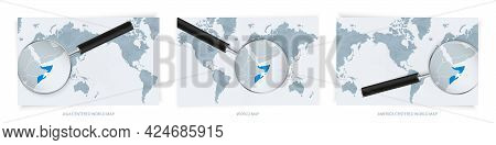 Blue Abstract World Maps With Magnifying Glass On Map Of Somalia With The National Flag Of Somalia.