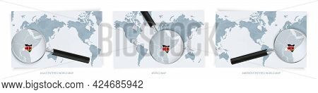 Blue Abstract World Maps With Magnifying Glass On Map Of Kenya With The National Flag Of Kenya. Thre