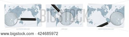 Blue Abstract World Maps With Magnifying Glass On Map Of Rwanda With The National Flag Of Rwanda. Th