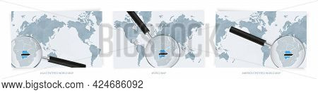 Blue Abstract World Maps With Magnifying Glass On Map Of Botswana With The National Flag Of Botswana
