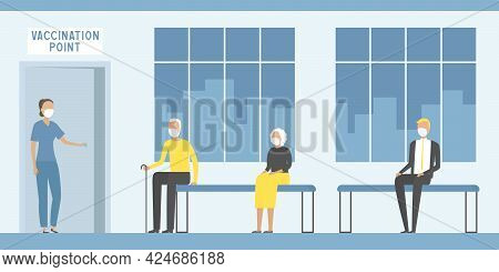 Paramedic Inviting Aged Man For Vaccination. Vector Illustration.