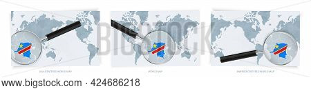 Blue Abstract World Maps With Magnifying Glass On Map Of Dr Congo With The National Flag Of Dr Congo