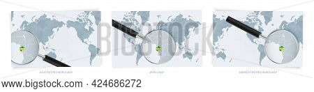 Blue Abstract World Maps With Magnifying Glass On Map Of Gabon With The National Flag Of Gabon. Thre