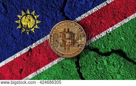 Bitcoin Crypto Currency Coin With Cracked Namibia Flag. Crypto Restrictions