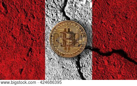 Bitcoin Crypto Currency Coin With Cracked Peru Flag. Crypto Restrictions