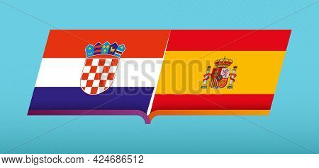 Football Icon Of Croatia Versus Spain In Football Competition. Vector Icon.