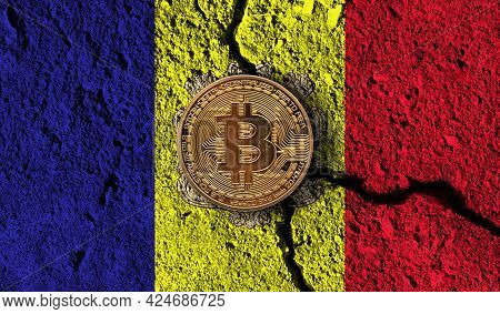 Bitcoin Crypto Currency Coin With Cracked Andorra Flag. Crypto Restrictions
