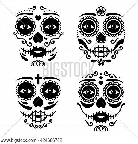 Mexican La Catrina Face Vector Design, Dia De Los Muertos Or Day Of The Dead Female Skull In Black A